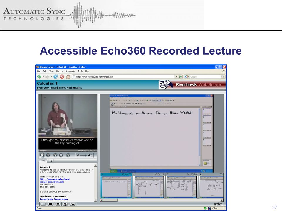 Accessible Echo360 Recorded Lecture