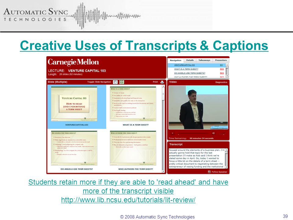 Creative Uses of Transcripts & Captions