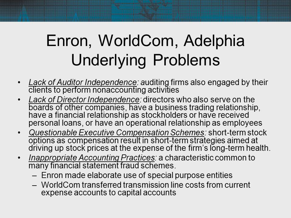 Enron, WorldCom, Adelphia Underlying Problems