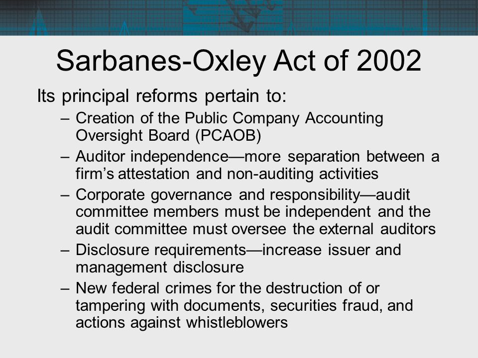 Sarbanes-Oxley Act of 2002 Its principal reforms pertain to:
