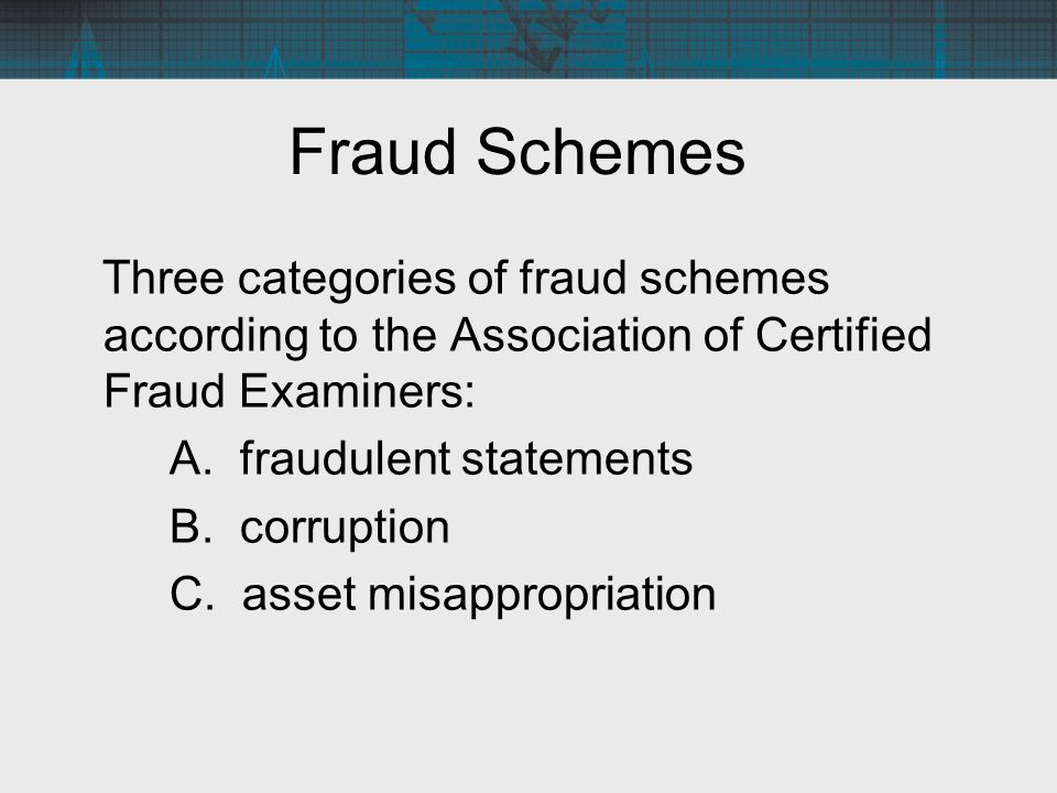 Fraud Schemes Three categories of fraud schemes according to the Association of Certified Fraud Examiners: