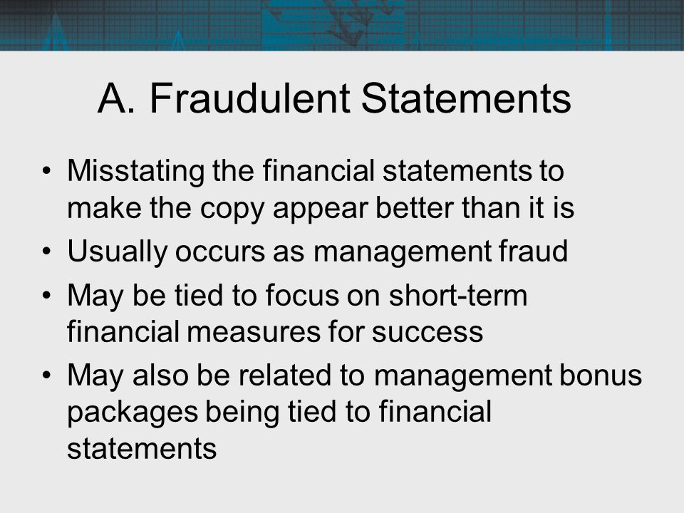 A. Fraudulent Statements