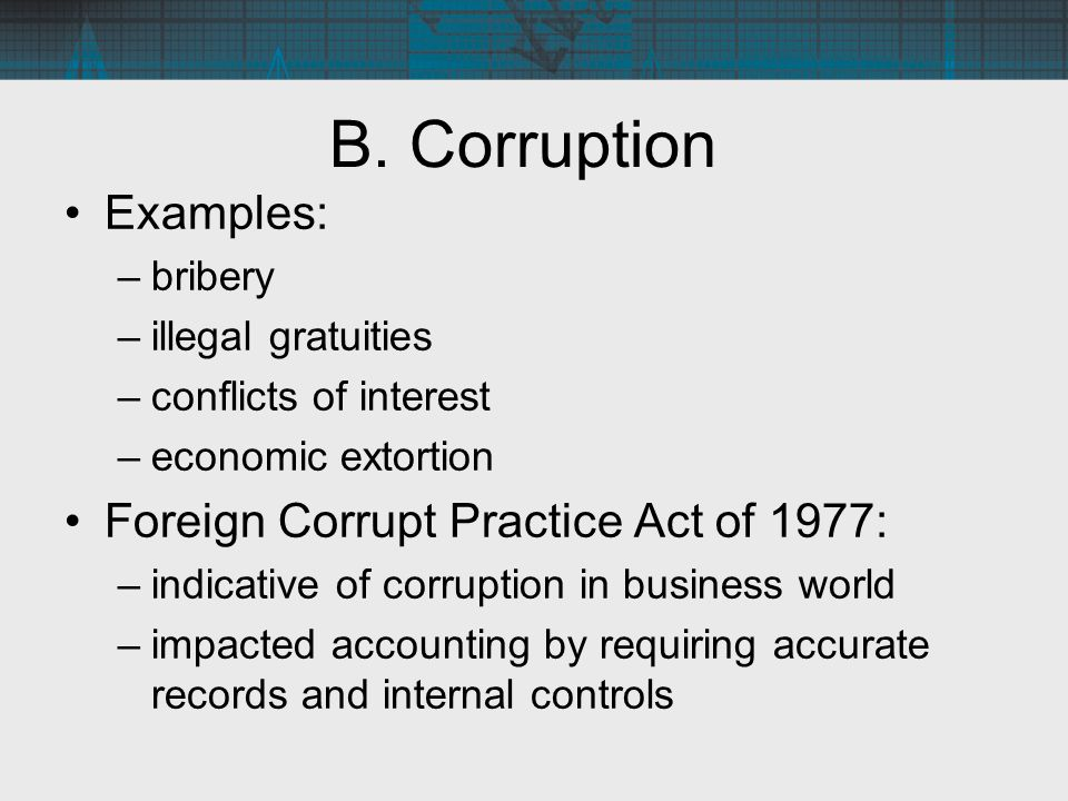 B. Corruption Examples: Foreign Corrupt Practice Act of 1977: bribery
