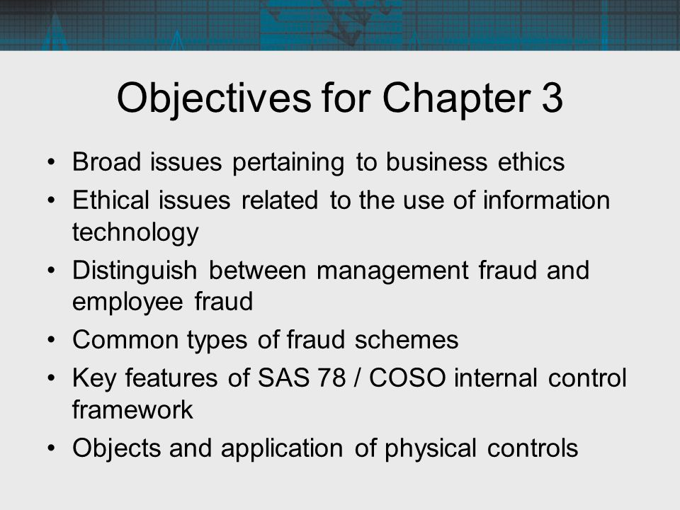 Objectives for Chapter 3