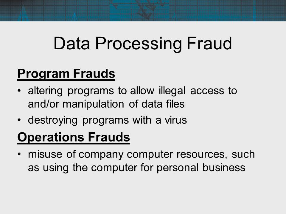 Data Processing Fraud Program Frauds Operations Frauds