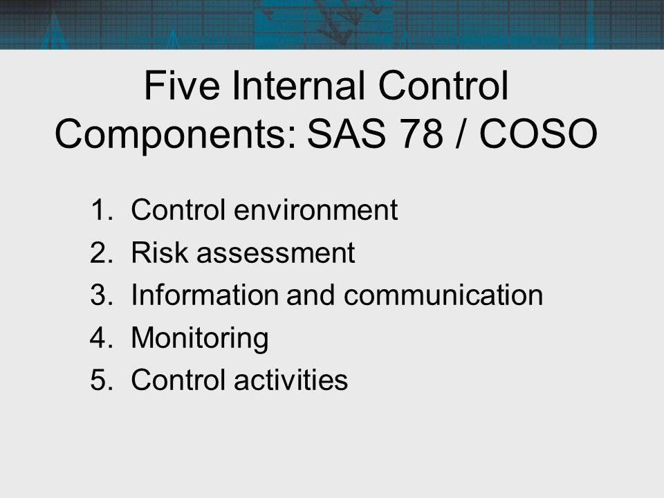 Five Internal Control Components: SAS 78 / COSO