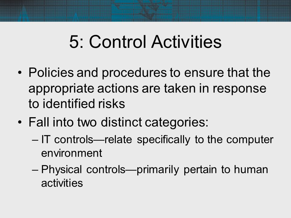 5: Control Activities Policies and procedures to ensure that the appropriate actions are taken in response to identified risks.