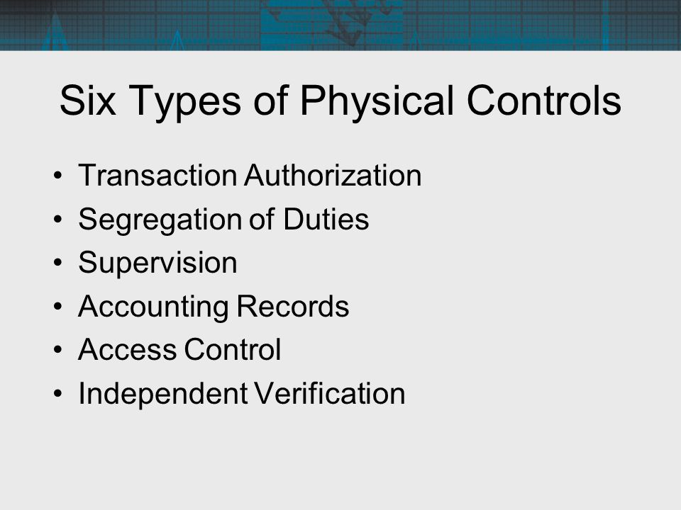 Six Types of Physical Controls