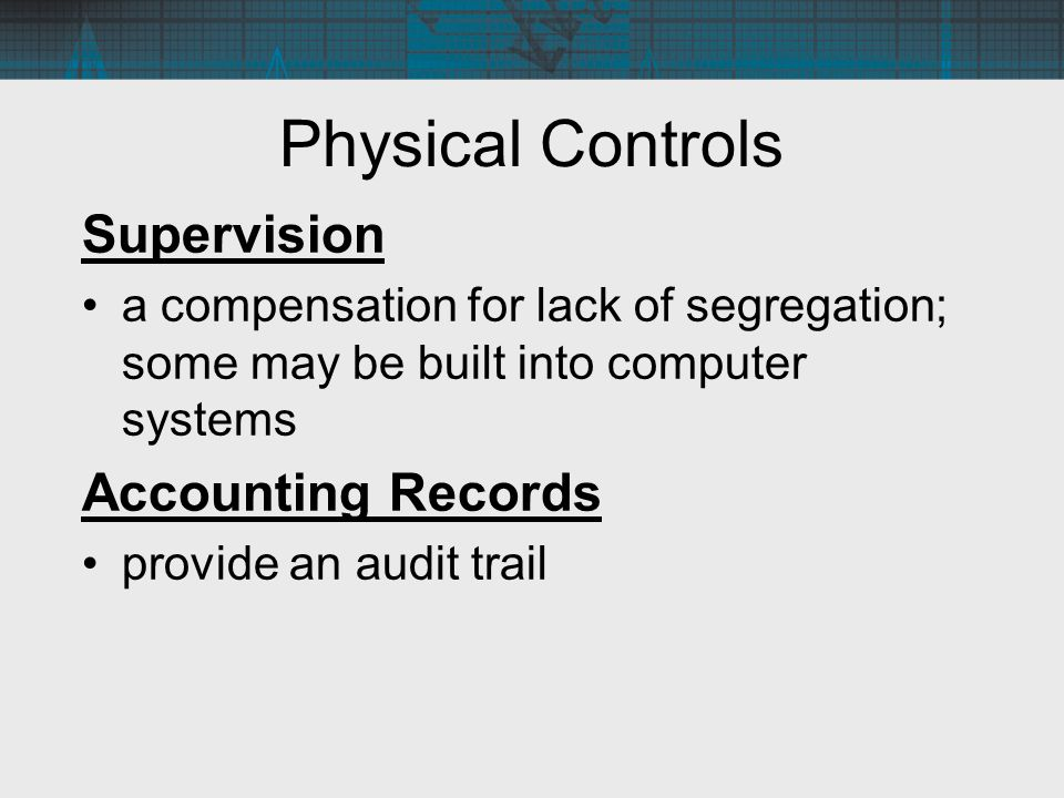 Physical Controls Supervision Accounting Records