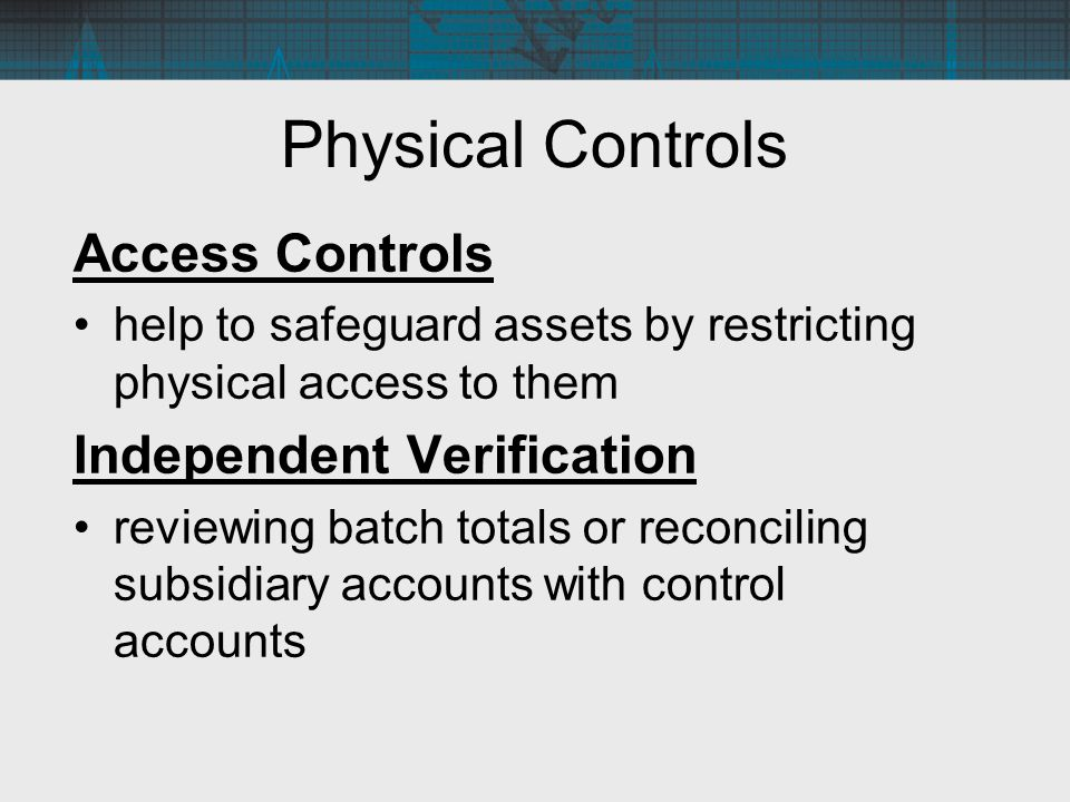 Physical Controls Access Controls Independent Verification