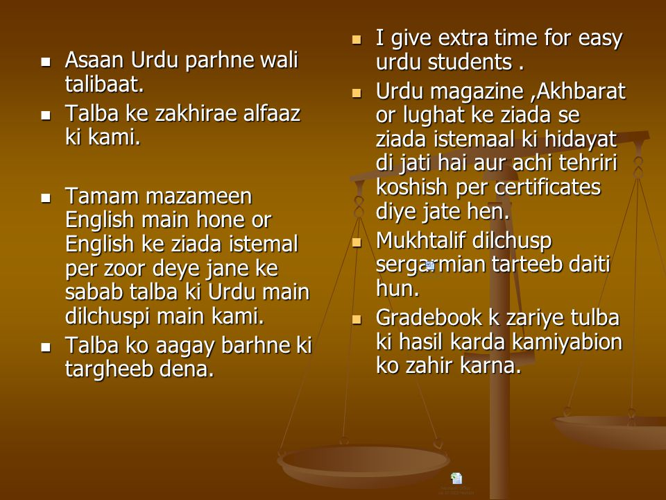 I give extra time for easy urdu students .