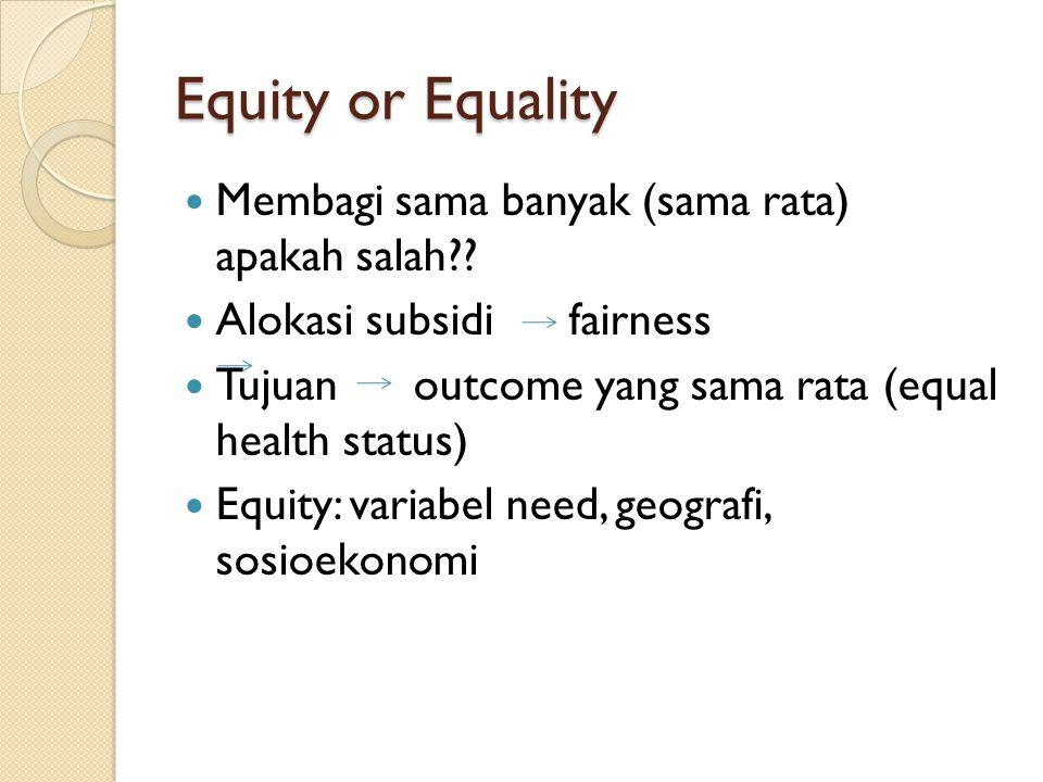 Equity or Equality Membagi sama banyak (sama rata) apakah salah