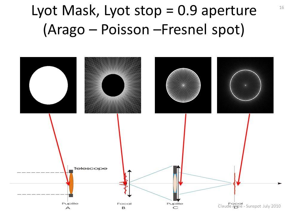 Lyot Mask, Lyot stop = 0.9 aperture (Arago – Poisson –Fresnel spot)