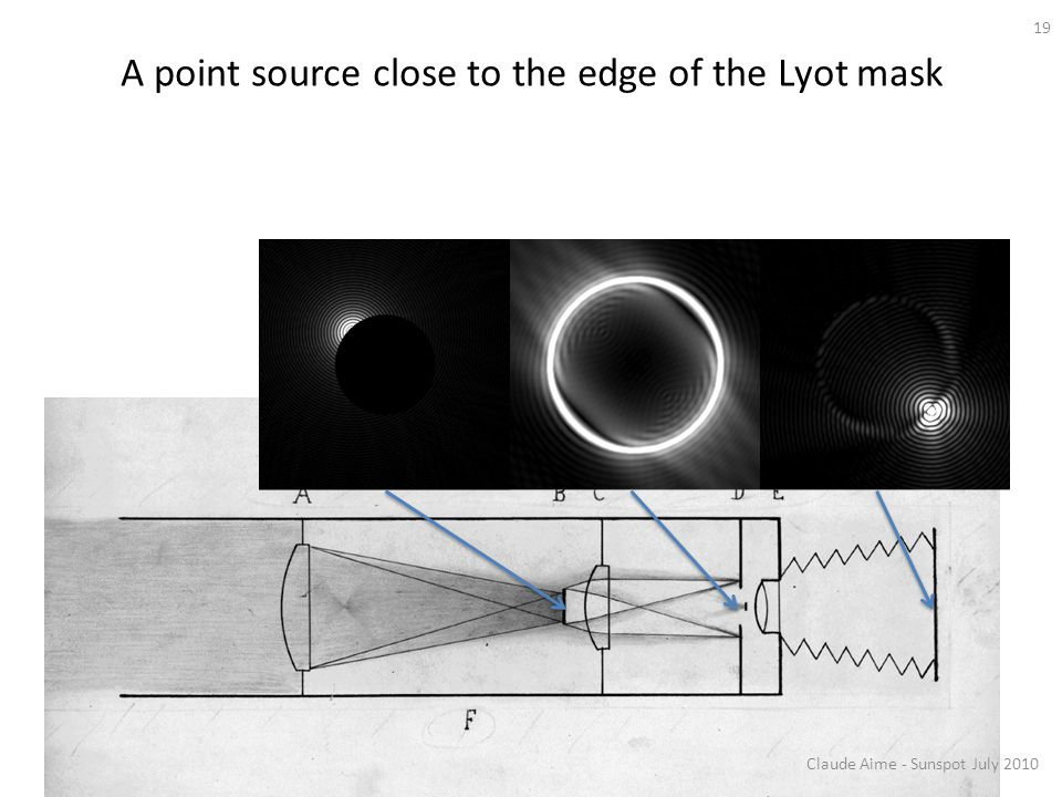 A point source close to the edge of the Lyot mask
