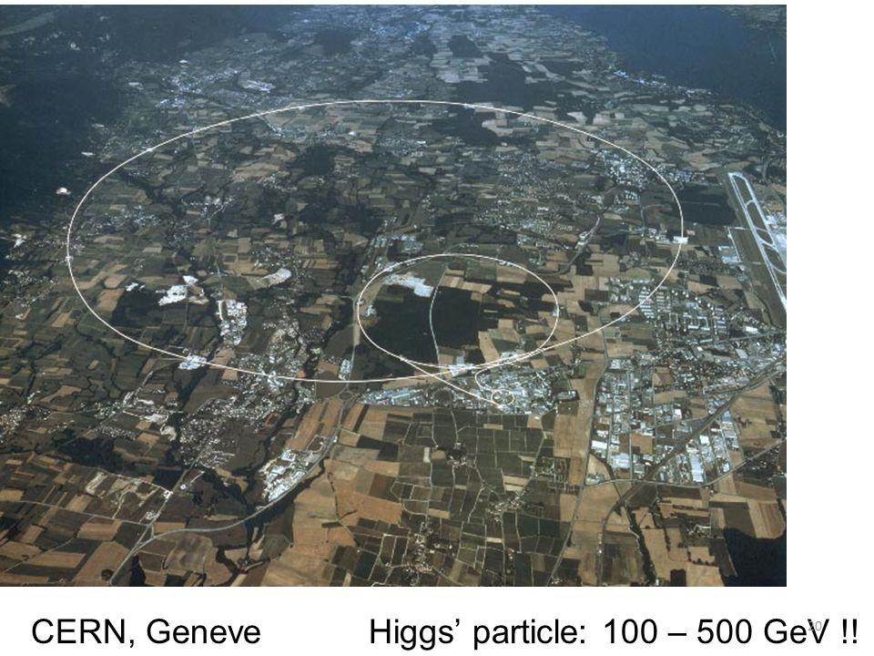 CERN, Geneve Higgs' particle: 100 – 500 GeV !!