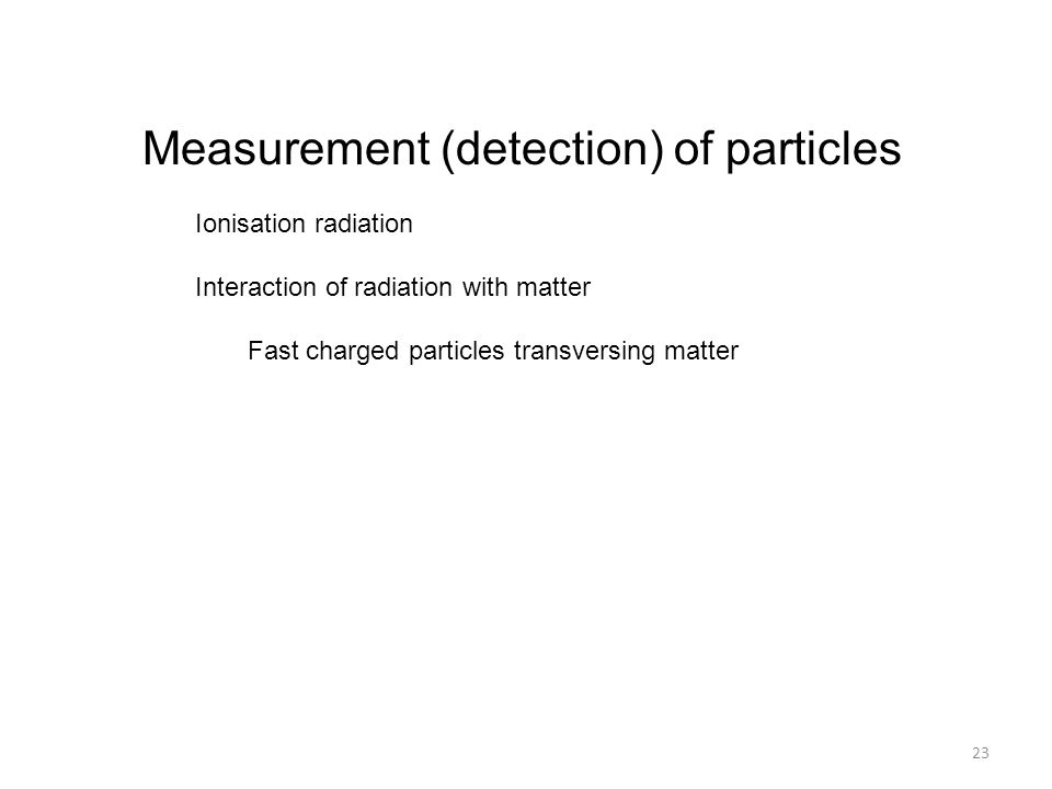 Measurement (detection) of particles