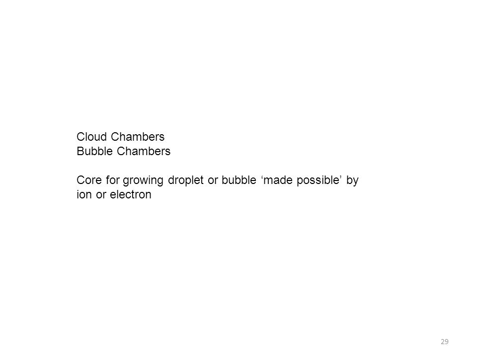Cloud Chambers Bubble Chambers.