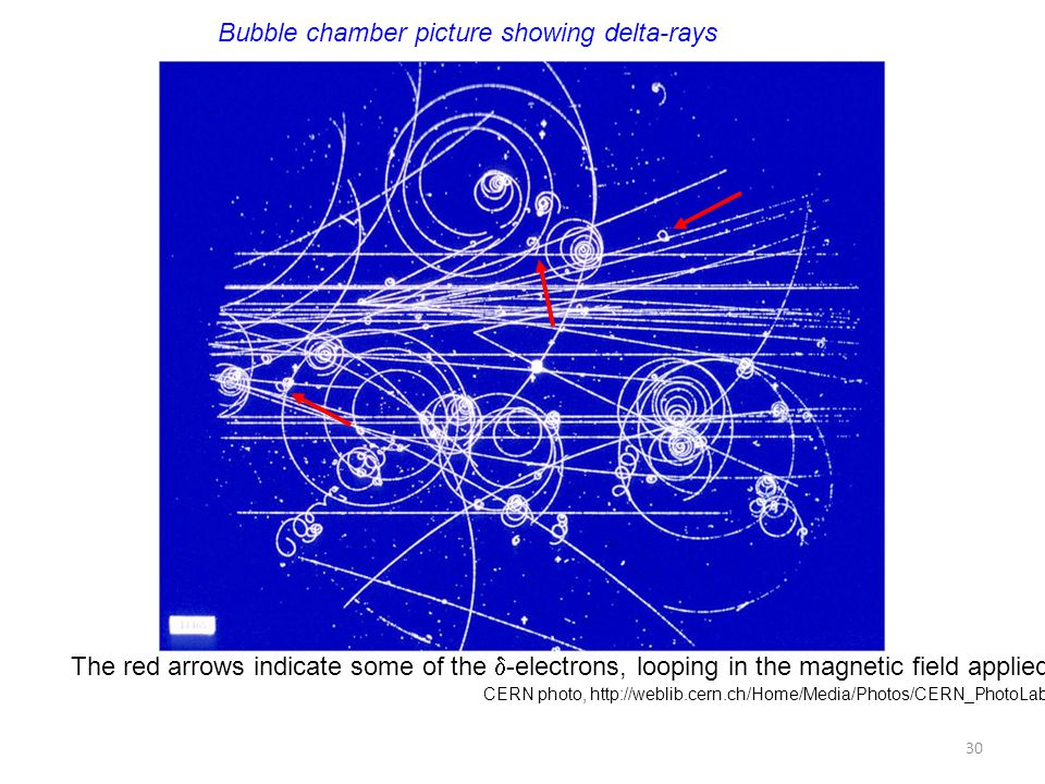 Bubble chamber picture showing delta-rays