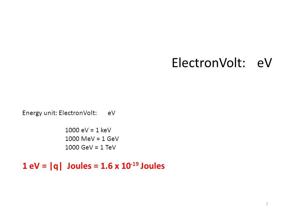 ElectronVolt: eV 1 eV = |q| Joules = 1.6 x 10-19 Joules
