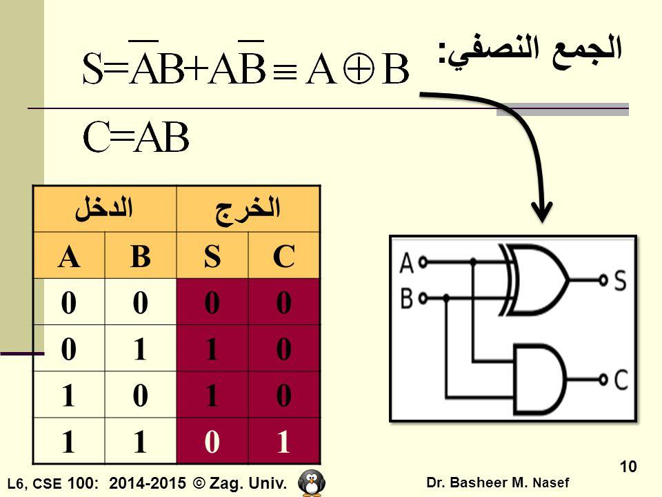الجمع النصفي: الدخل الخرج A B S C 1