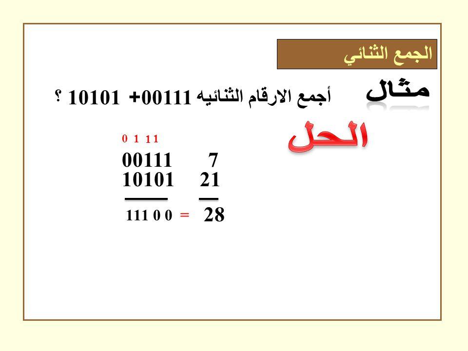 الحل الجمع الثنائي أجمع الارقام الثنائيه 00111+ 10101 ؟ 00111 7