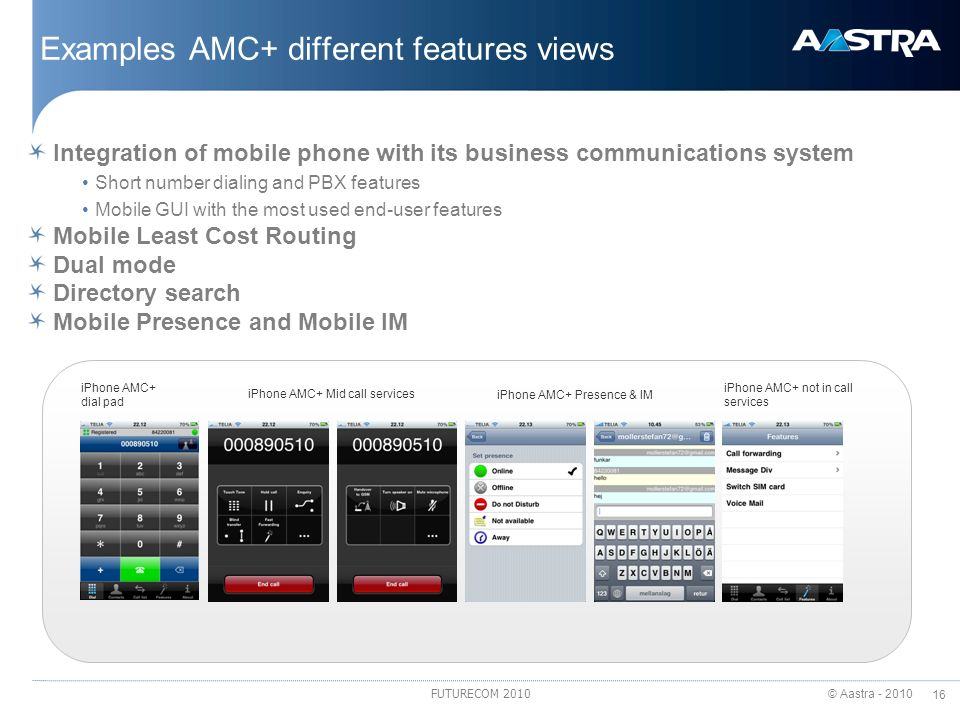 Examples AMC+ different features views