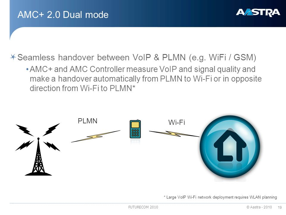 AMC+ 2.0 Dual mode Seamless handover between VoIP & PLMN (e.g. WiFi / GSM)