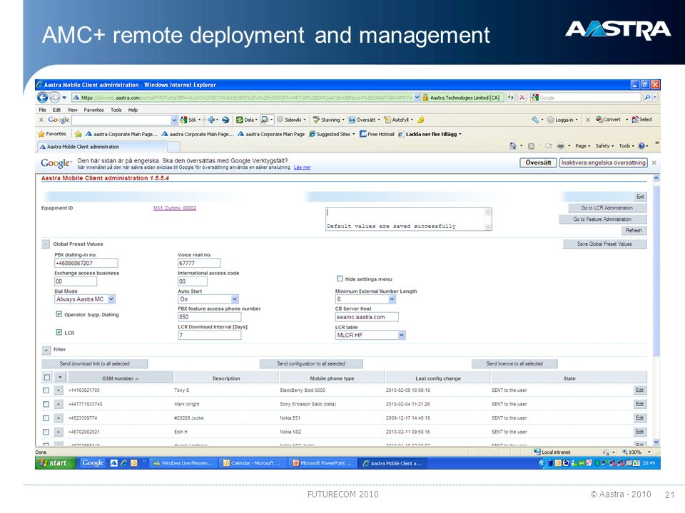 AMC+ remote deployment and management