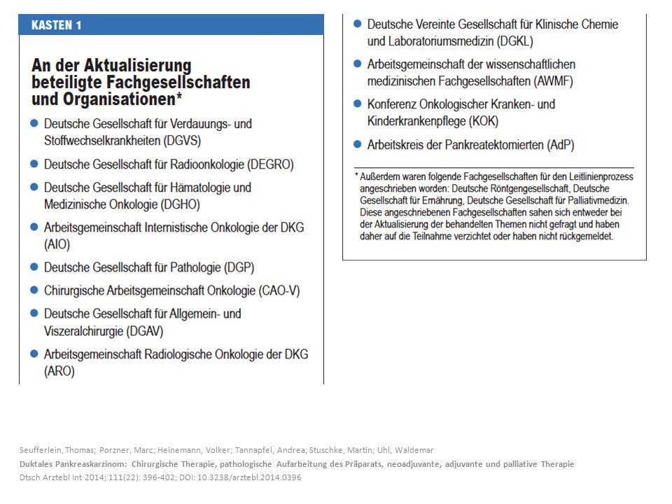 Seufferlein, Thomas; Porzner, Marc; Heinemann, Volker; Tannapfel, Andrea; Stuschke, Martin; Uhl, Waldemar