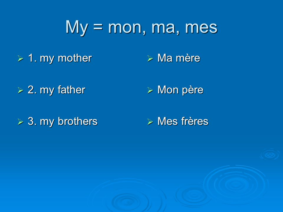 My = mon, ma, mes 1. my mother 2. my father 3. my brothers Ma mère