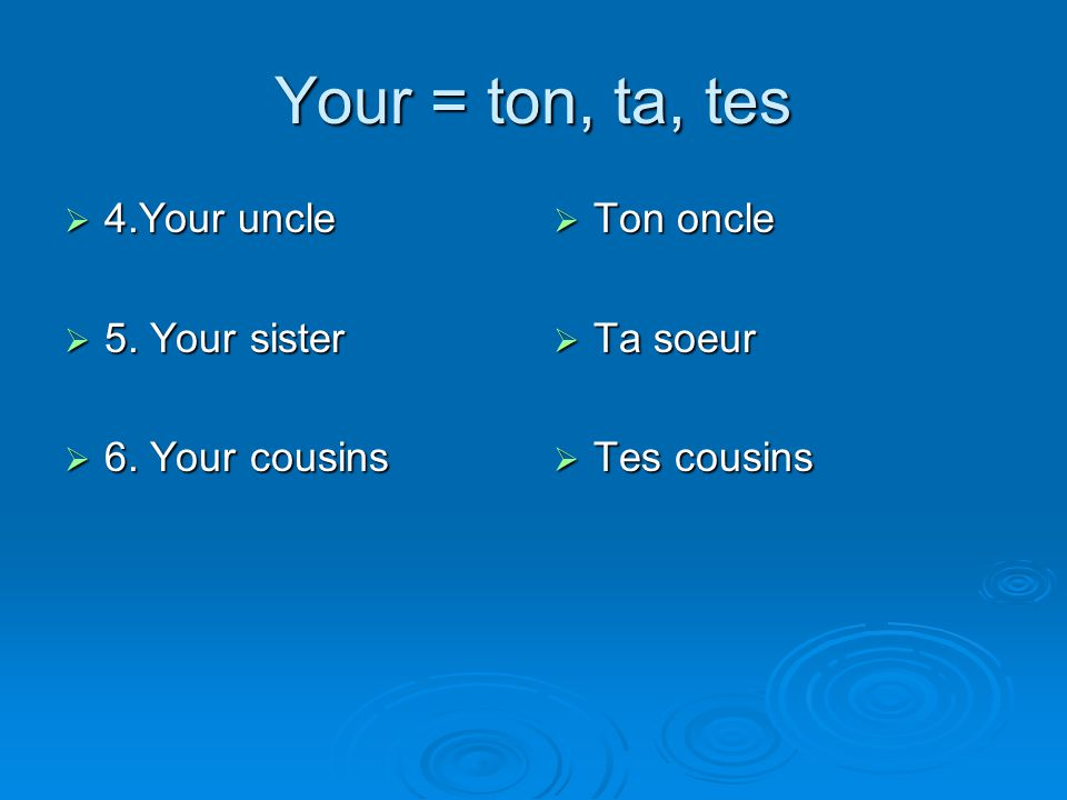 Your = ton, ta, tes 4.Your uncle 5. Your sister 6. Your cousins