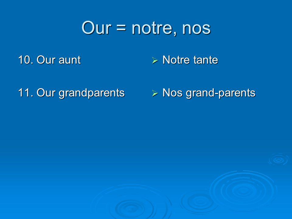 Our = notre, nos 10. Our aunt 11. Our grandparents Notre tante