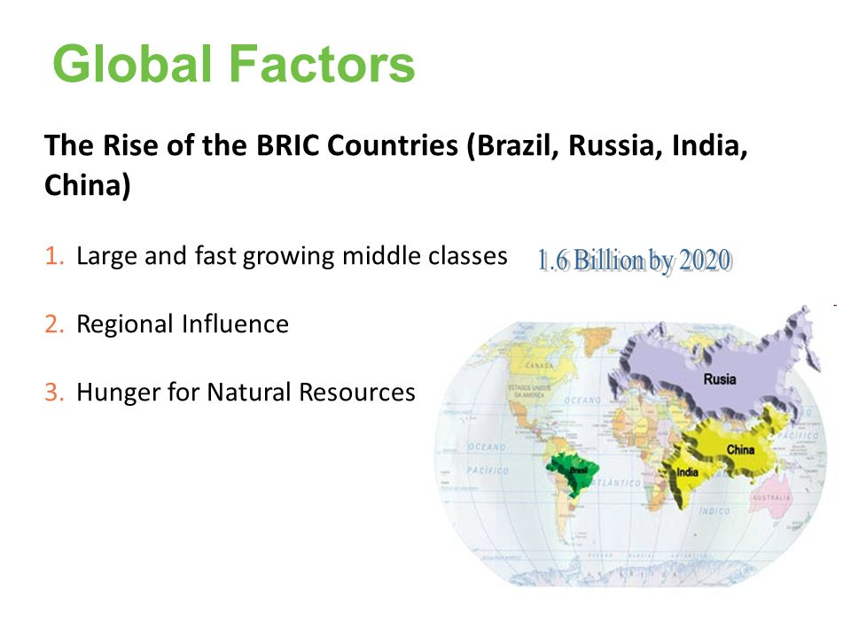 Global Factors The Rise of the BRIC Countries (Brazil, Russia, India, China) Large and fast growing middle classes.