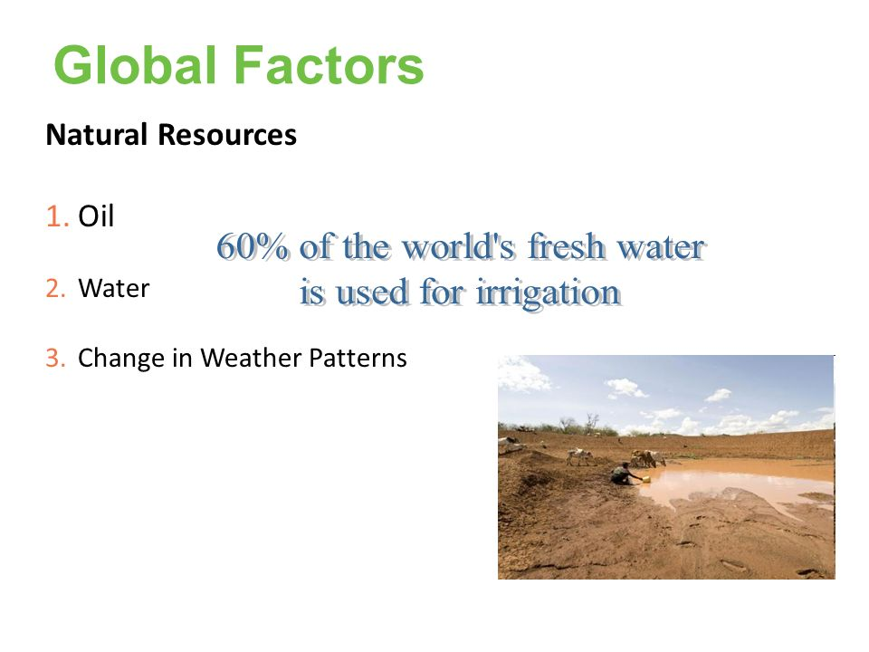 60% of the world s fresh water