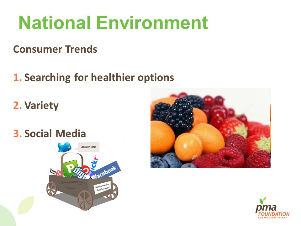 National Environment Consumer Trends Searching for healthier options