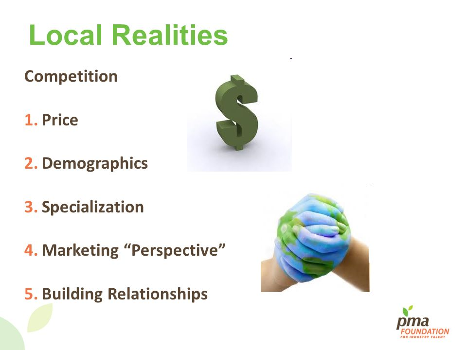 Local Realities Competition Price Demographics Specialization