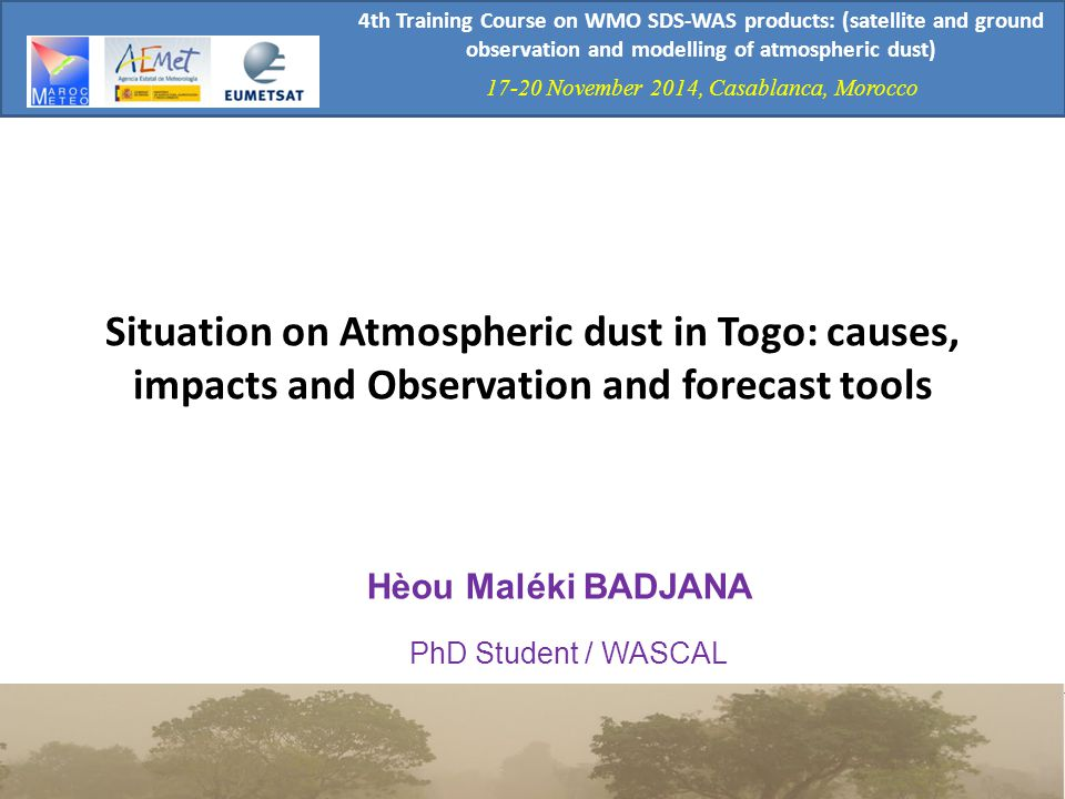 4th Training Course on WMO SDS-WAS products: (satellite and ground observation and modelling of atmospheric dust)