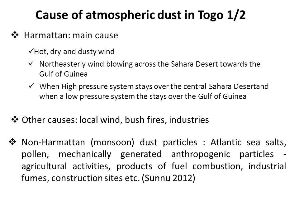 Cause of atmospheric dust in Togo 1/2