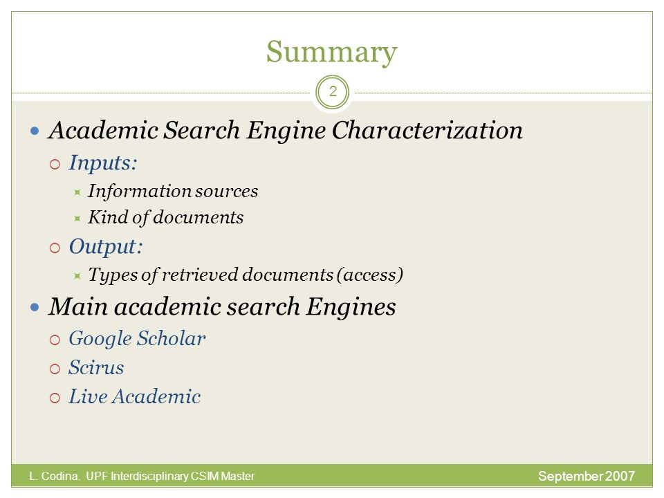 Summary Academic Search Engine Characterization
