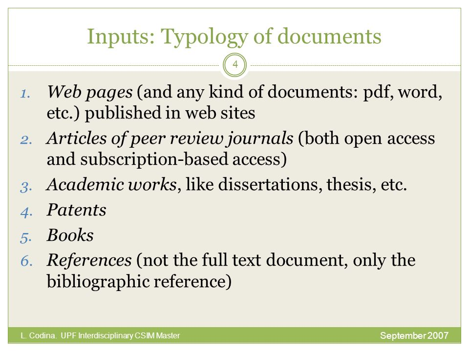 Inputs: Typology of documents