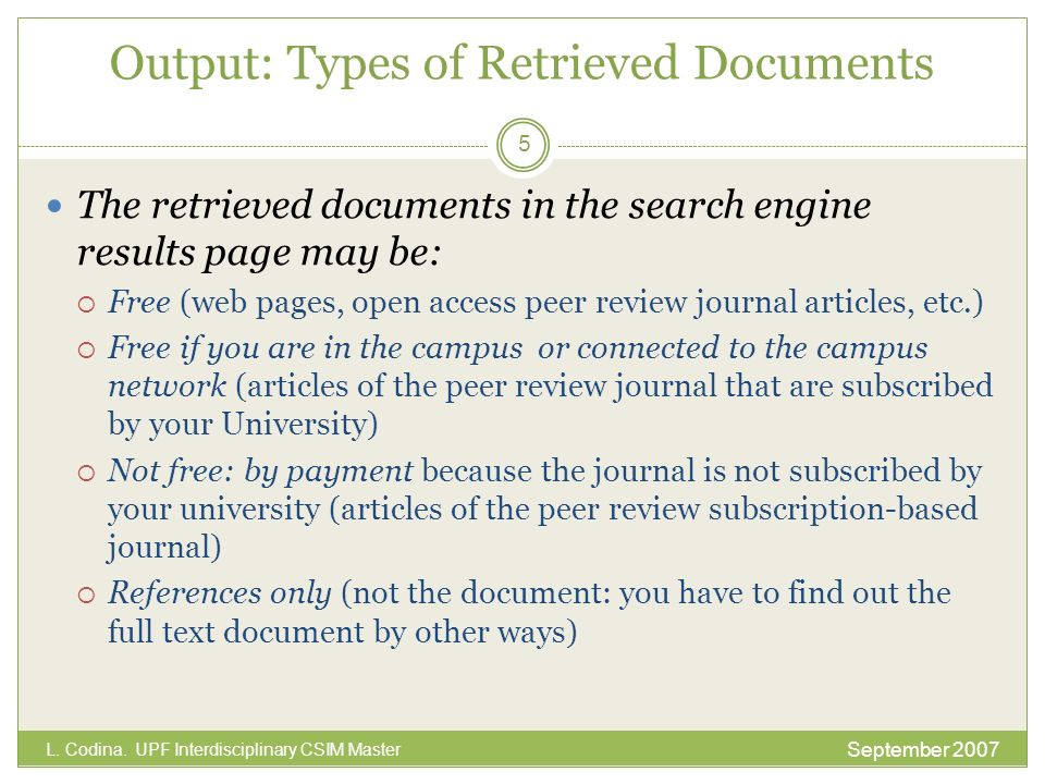 Output: Types of Retrieved Documents