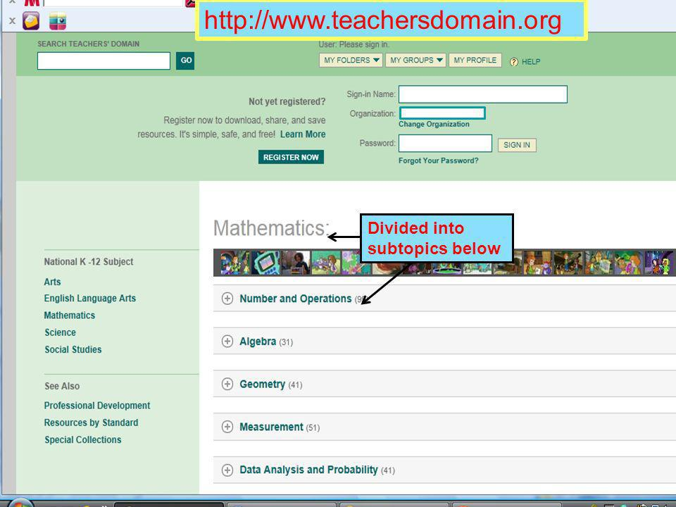 http://www.teachersdomain.org Divided into subtopics below