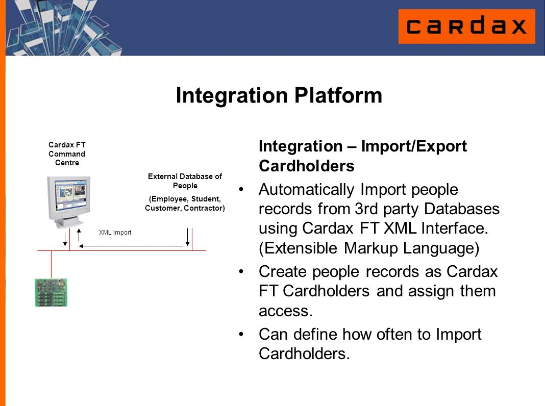 Integration Platform Integration – Import/Export Cardholders