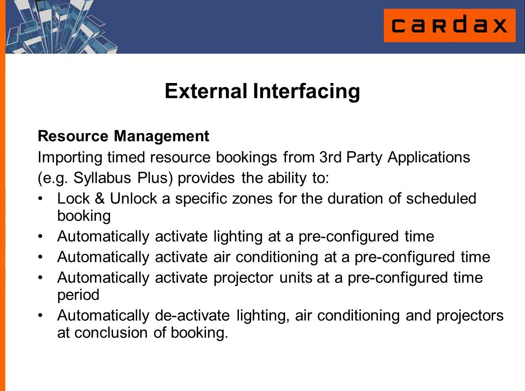External Interfacing Resource Management