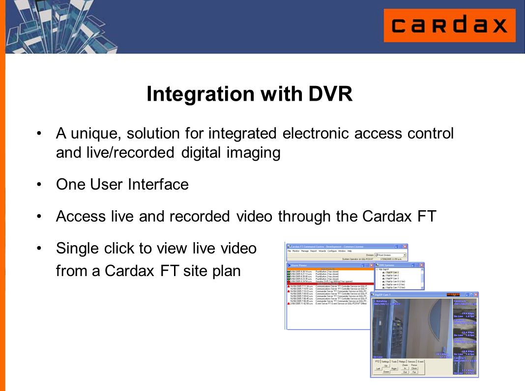 Integration with DVR A unique, solution for integrated electronic access control and live/recorded digital imaging.