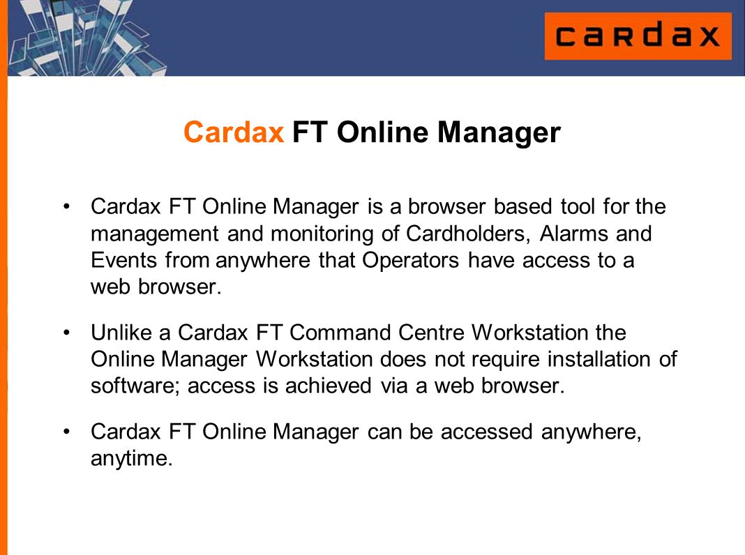 Cardax FT Online Manager