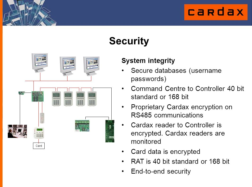Security System integrity Secure databases (username passwords)