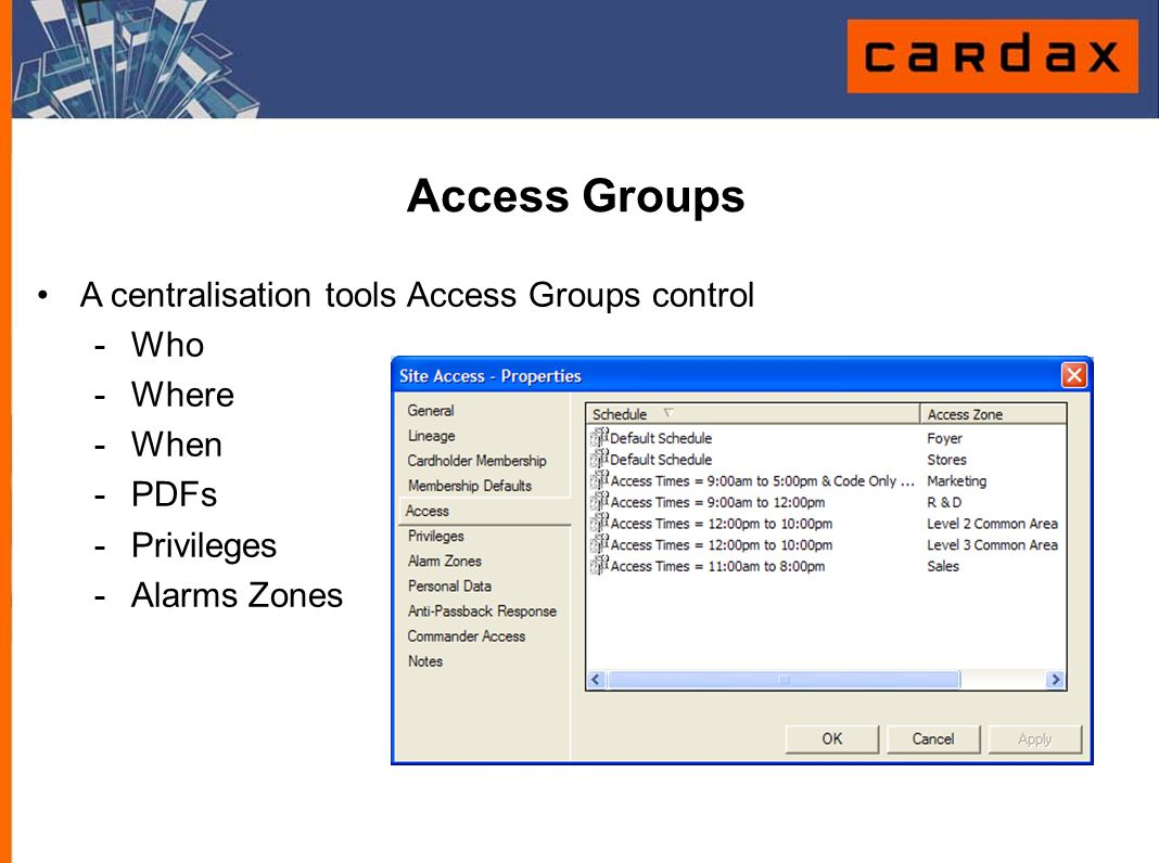 Access Groups A centralisation tools Access Groups control - Who