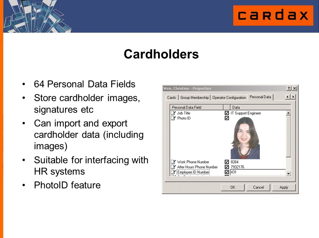 Cardholders 64 Personal Data Fields