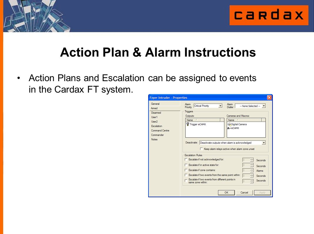Action Plan & Alarm Instructions